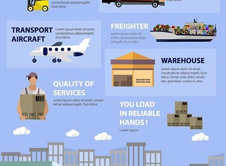 Logistics and warehouse vector infographics