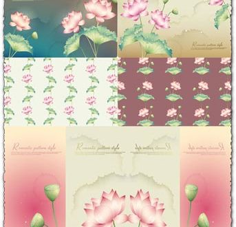 Lotus background vector banners