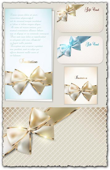 Luxury cards bows vectors