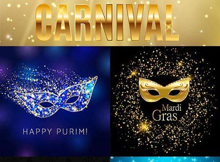 Mardi Gras carnival mask vectors
