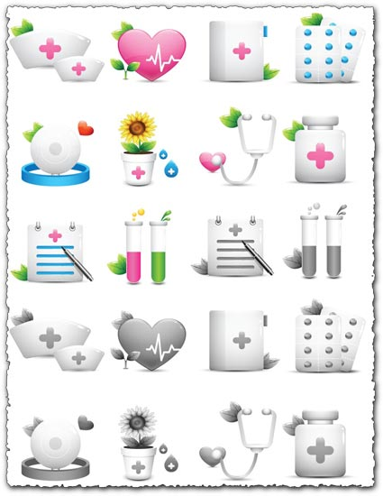 Medical vector icon objects