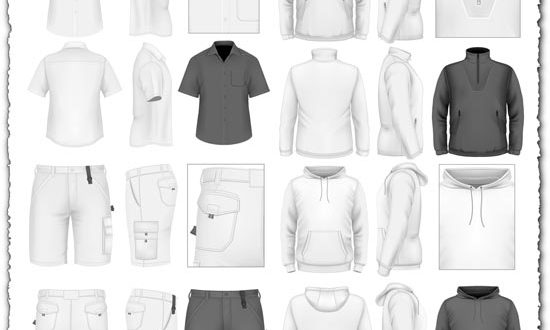 Men's sportswear clothes vectors