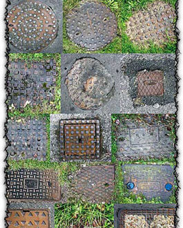 Metal manhole cover textures