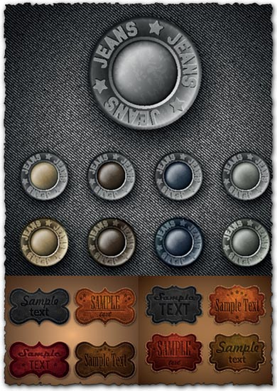 Metallic buttons and leather labels for jeans vectors