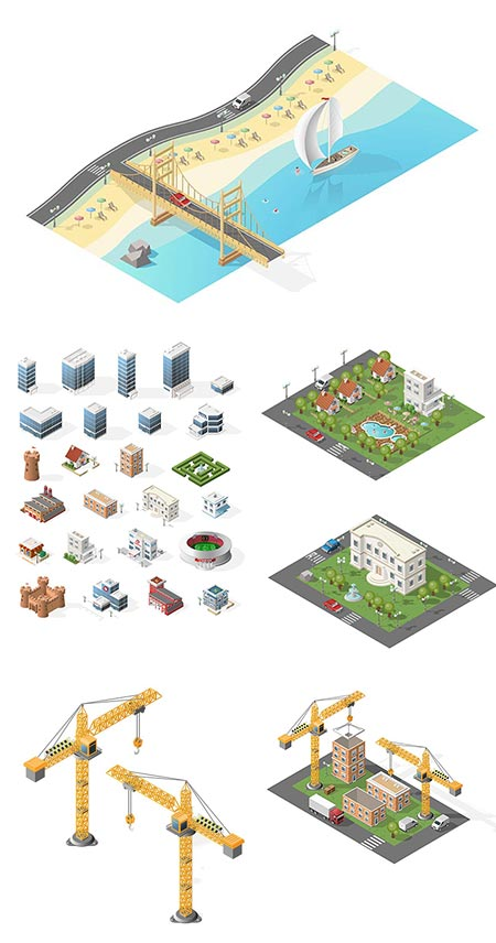 Miniature isometric city vector elements