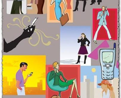 People talking on phone vector characters
