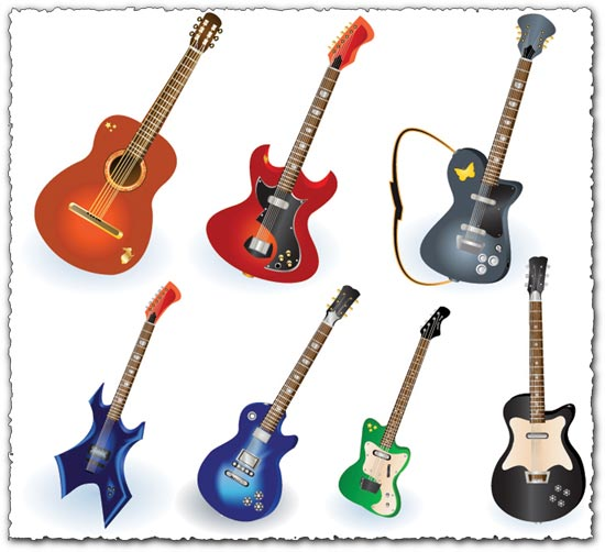 Music instruments guitar vectors