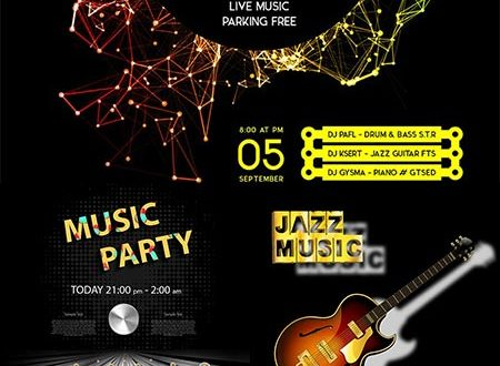 Music poster invitations vector design
