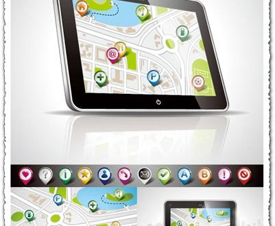 Navigation map and icons vector