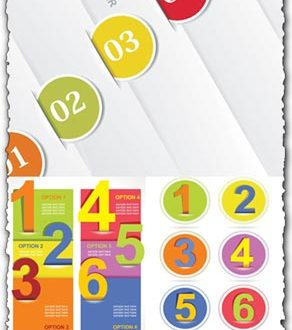 Number tags in banners vector