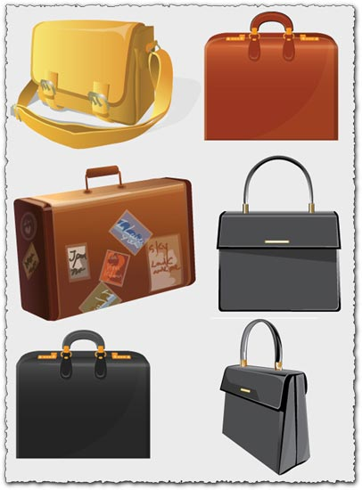 Office bags and suitcases vectors