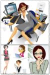 Office girls stock vectors