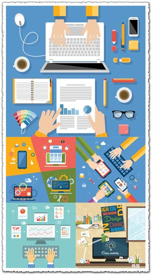 Office work, technology and infographics flat design