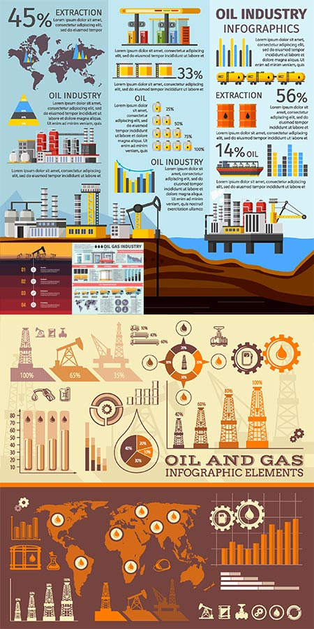 Oil and gas industry vector infographics