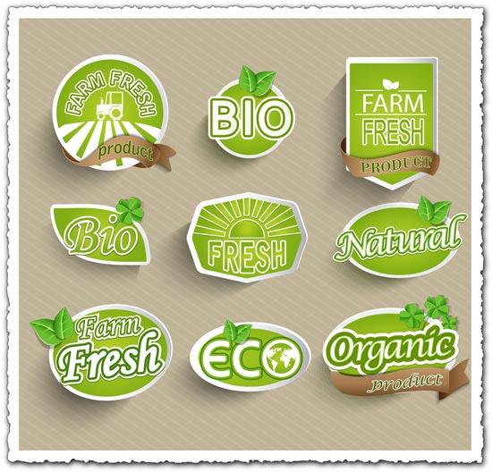 Organic food eco-labeling vector