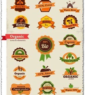 Organic food labels and tags vectors