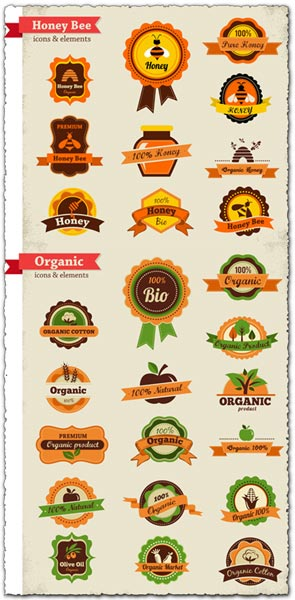 Organic food labels and tags vectors