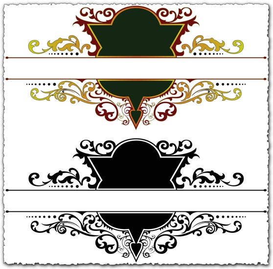 Ornamental heraldic vector labels