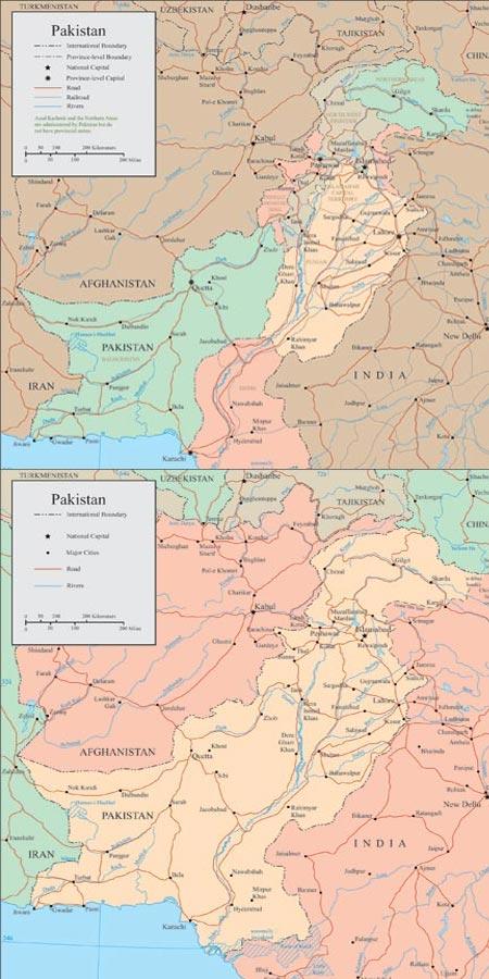 Pakistan vector maps