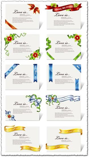 Paper cards with ribbons templates