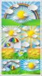 Paper stickers effect with sunburst landscape vector