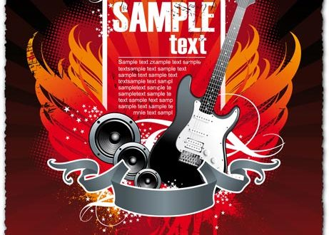 Party vector with guitar design banner
