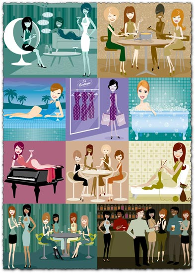 People vector cliparts collection