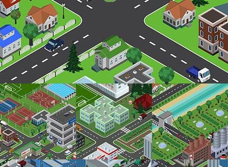 Perspective isometric inner city vector
