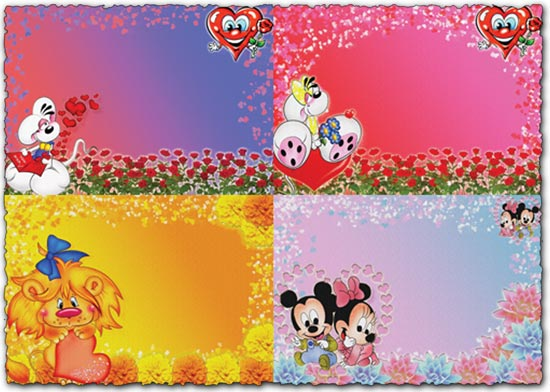 Photoshop cartoon backgrounds with hearts and flowers