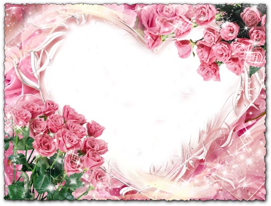 Photoshop frame pink roses and heart