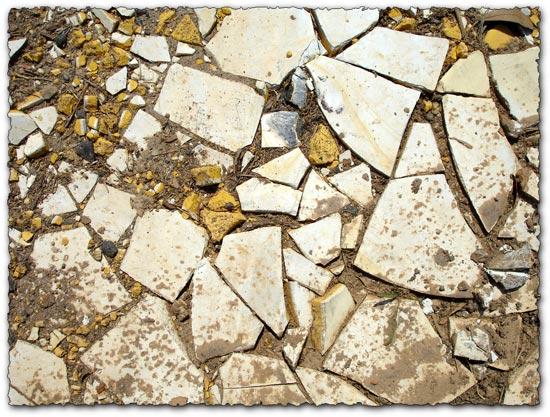 Broken tiles in dirt textures