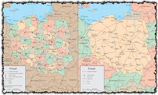 Poland vector maps