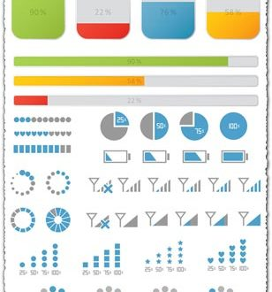 Progress bars icons and loaders vector