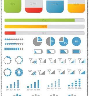 Progress bars icons and loaders vector