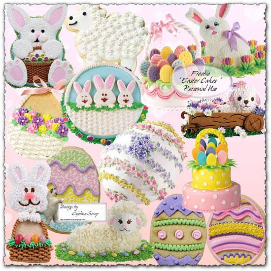 Easter with bunny and eggs png collection