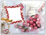 Romantic photoshop wedding frame