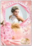 White dress bride in pink frame for Photoshop