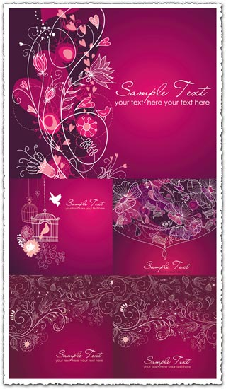 purple wedding invitation vectors
