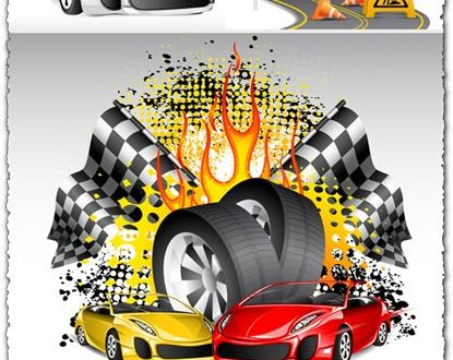 Racing cars on the road vector concept