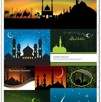 Ramadan greeting cards vector