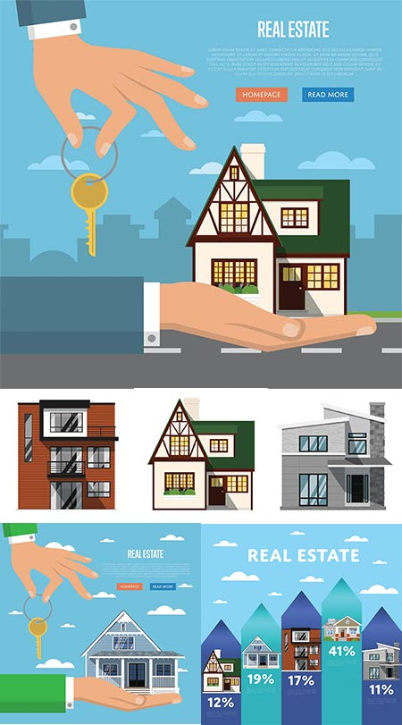 Real estate advertising agency vectors