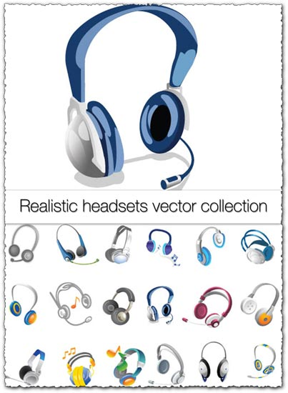 Realistic headsets vector collection
