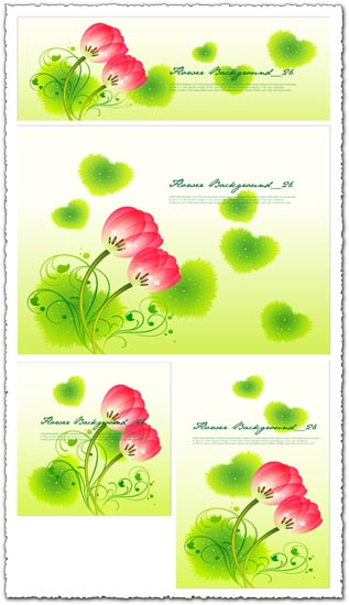 Red flowers with grass heart-shapes banners