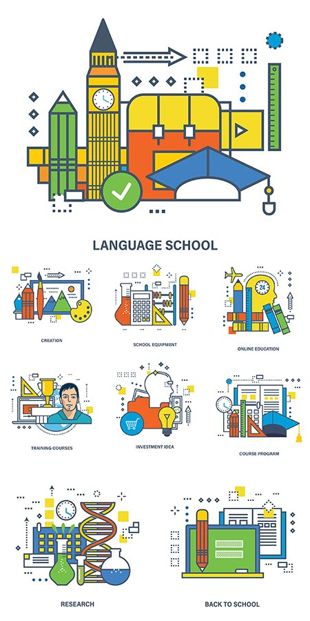 Research and education flat design vectors