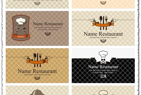 Restaurant business cards eps vector models