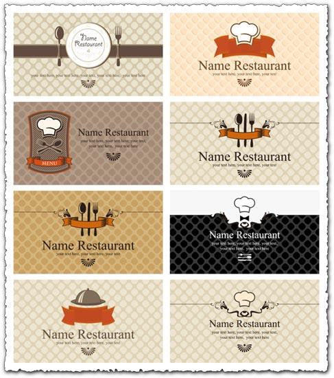Restaurant business cards eps vector models