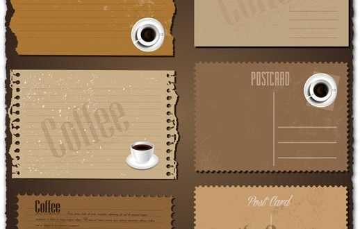 Retro coffee envelopes and letterheads vectors