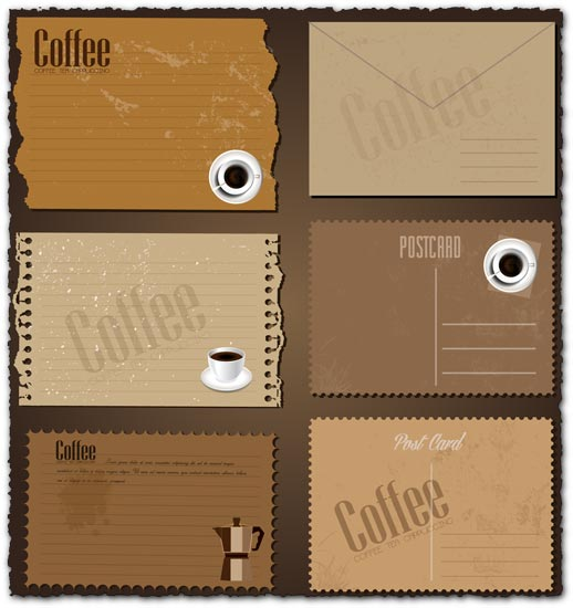 Retro coffee envelopes and letterheads vectors