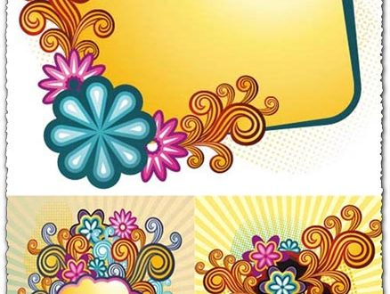 Retro flowers vector frames