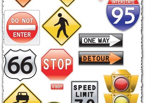 Traffic light and road sign vectors